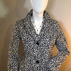Liz Claiborne Jacquard Sleeve Rose Jacket Career